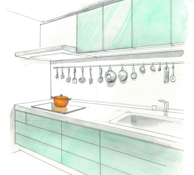 料理道具飾る インテリアパース