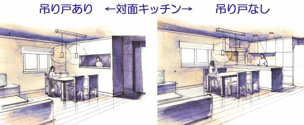 キッチン吊り戸パース